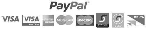 Payment accepted via PayPal, Visa, Visa Electron, American Express, Mastercard, Maestro, Switch, Solo, and Delta