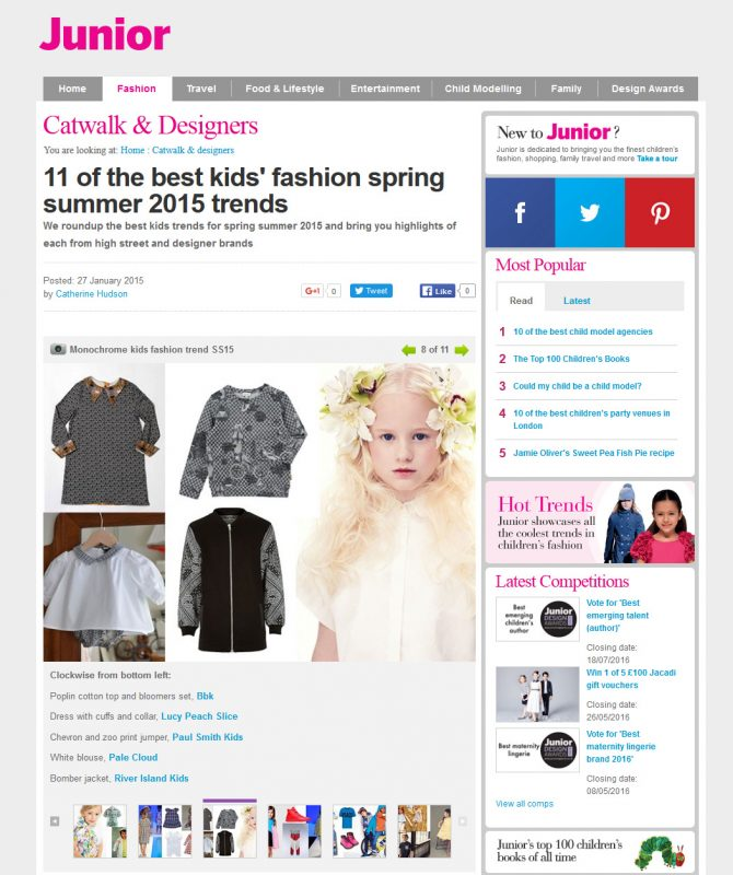 unior Magazine - 11 of the best kids' fashion spring summer 2015 trends