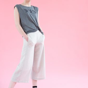 Lucy Peach Slice, Emma Prigmore, women, womenswear, ladies, ladies clothing, clothing, St. Albans, SS17, Linen Cropped Trousers