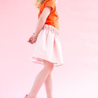 Lucy Peach Slice, SS17, Ruffled Skirt, Powder Pink, Emma Prigmore, skirt, girls, girlswear, kids, kidswear, clothing, St. Albans,